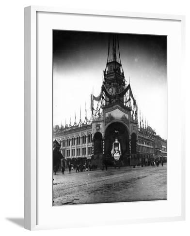 The Duma Tower Decorated for a Visit of the French President, St Petersburg, C.Early C20th--Framed Art Print