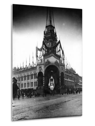 The Duma Tower Decorated for a Visit of the French President, St Petersburg, C.Early C20th--Metal Print