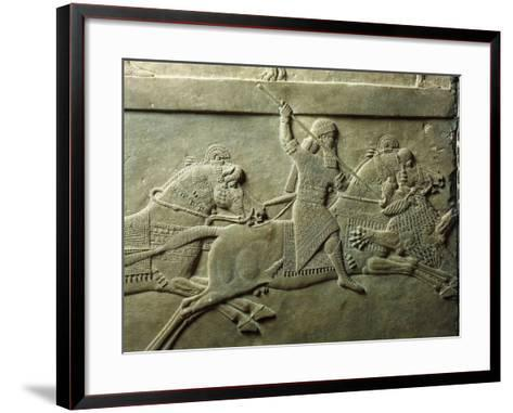 Bas-Relief Depicting Killing of Lion--Framed Art Print
