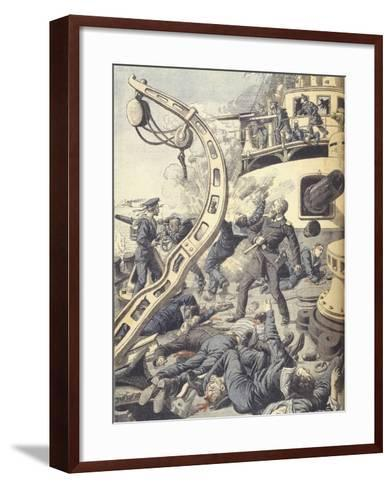 Naval Battle on Russian Battleship Tsesarevitch During Russo-Japanese War of 1904-1905--Framed Art Print