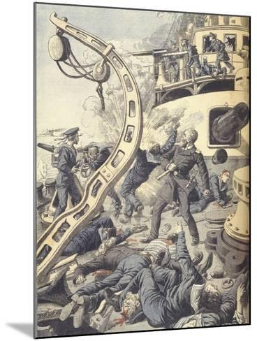 Naval Battle on Russian Battleship Tsesarevitch During Russo-Japanese War of 1904-1905--Mounted Giclee Print