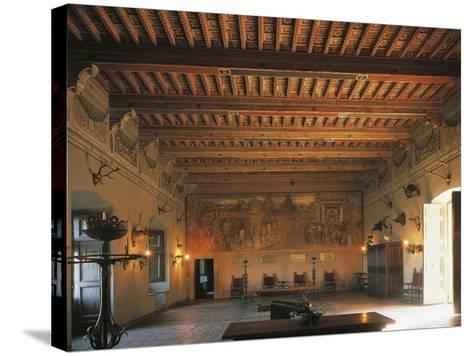 Banquet Hall of Bracciano Castle, Italy--Stretched Canvas Print