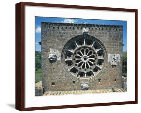 Detail from the Romanic Rose-Window in the Church of Santa Maria Maggiore, Tuscania, Italy--Framed Art Print