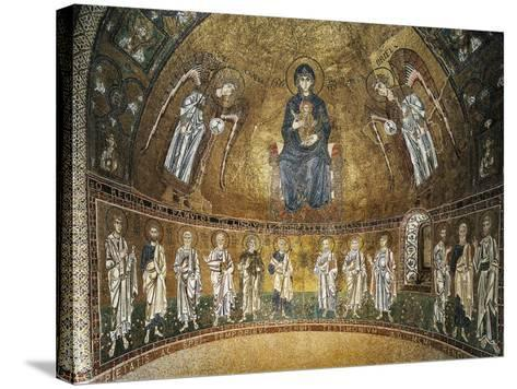 Enthroned Virgin with Archangels and Apostles, Mosaic, Apse of Santa Maria Assunta--Stretched Canvas Print