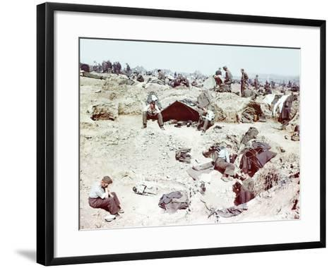 Rheinwiesenlager Sinzig: Wehrmacht Soldiers in a Prisoner of War Temporary Enclosure--Framed Art Print