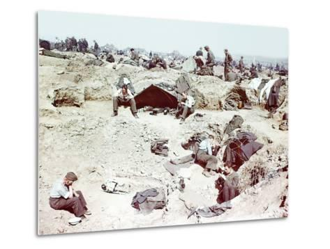 Rheinwiesenlager Sinzig: Wehrmacht Soldiers in a Prisoner of War Temporary Enclosure--Metal Print