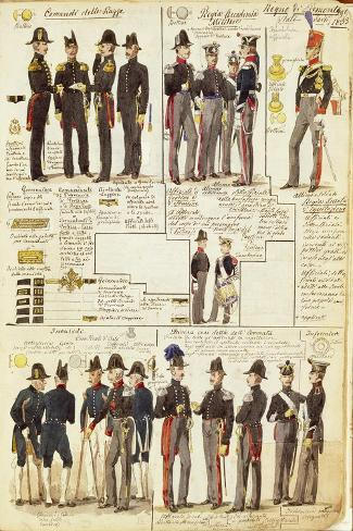 Uniforms of the Piedmontese Army from 1833--Stretched Canvas Print
