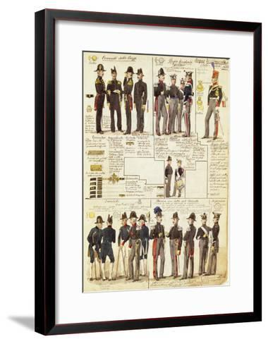 Uniforms of the Piedmontese Army from 1833--Framed Art Print