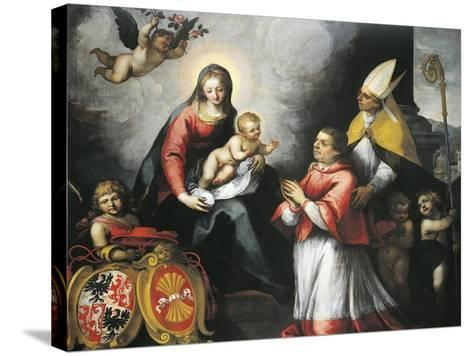 The Bishop of Trent Saint Bernardo Clesio Presented by Saint Vigil to the Virgin--Stretched Canvas Print