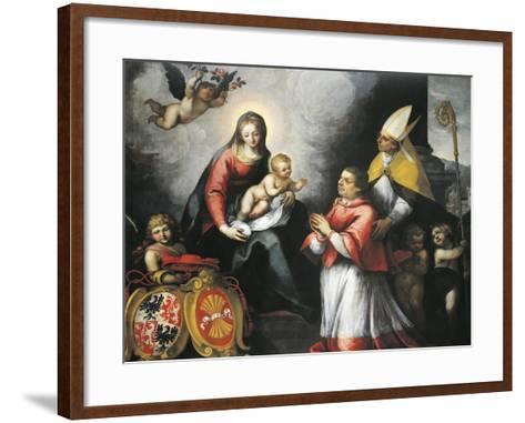 The Bishop of Trent Saint Bernardo Clesio Presented by Saint Vigil to the Virgin--Framed Art Print