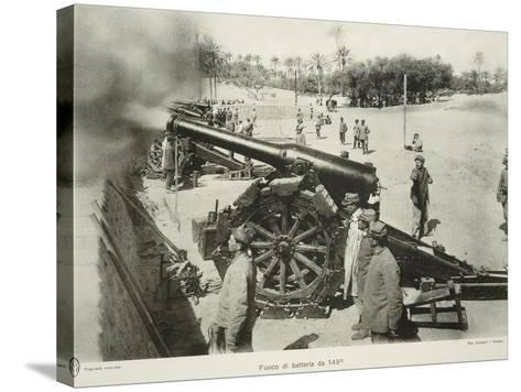 Italian 149 Cm Cannons Battery Fire, Colonial Wars, Libya--Stretched Canvas Print