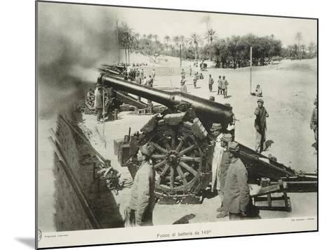 Italian 149 Cm Cannons Battery Fire, Colonial Wars, Libya--Mounted Giclee Print