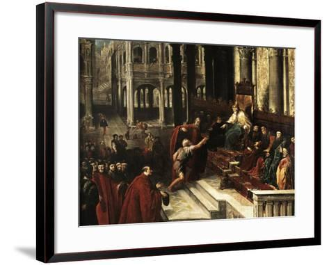 Italy, Venice, Painting of Fisherman Giving Ring to Doge of Venice--Framed Art Print