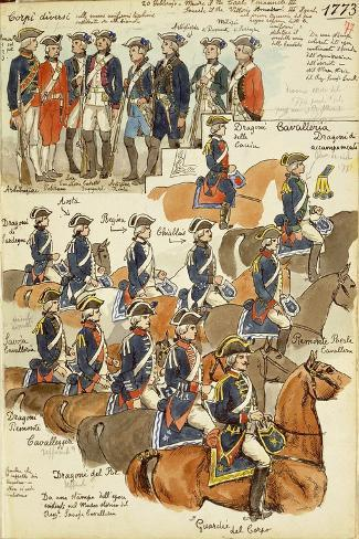 Uniforms of the Sardinian Army During the Reign of Vittorio Amedeo III, 1773--Stretched Canvas Print