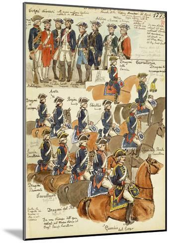 Uniforms of the Sardinian Army During the Reign of Vittorio Amedeo III, 1773--Mounted Giclee Print