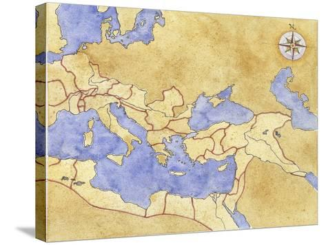 Ancient Rome, Map of Roman Empire--Stretched Canvas Print