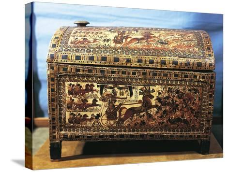 Treasure of Tutankhamen, Wooden Chest with Scenes of War--Stretched Canvas Print