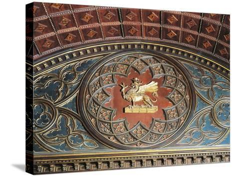 Merchants Coat of Arms, Inlaid Wood, College of Merchandise, Priors' Palace, Perugia, Umbria--Stretched Canvas Print