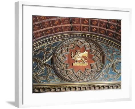 Merchants Coat of Arms, Inlaid Wood, College of Merchandise, Priors' Palace, Perugia, Umbria--Framed Art Print