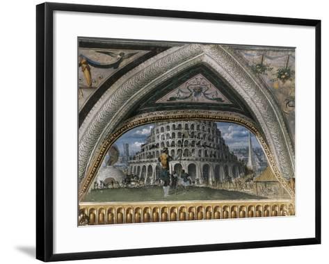 Biblical Scene and Tower of Babel--Framed Art Print