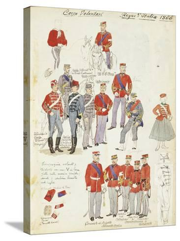 Uniforms of Army Volunteer Corp of Kingdom of Italy, Color Plate, 1866--Stretched Canvas Print