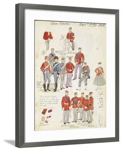 Uniforms of Army Volunteer Corp of Kingdom of Italy, Color Plate, 1866--Framed Art Print