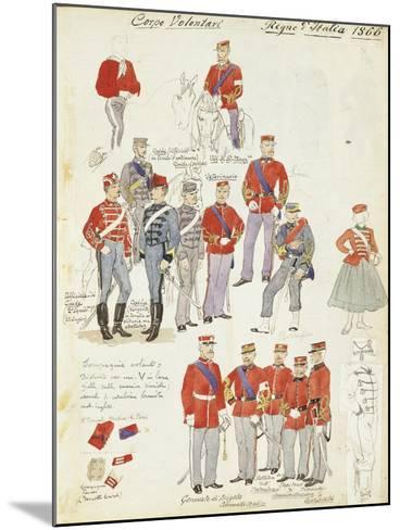 Uniforms of Army Volunteer Corp of Kingdom of Italy, Color Plate, 1866--Mounted Giclee Print