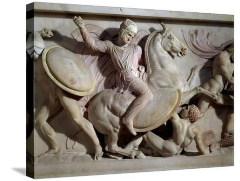 The Sarcophagus of Alexander in Marble, from Sidon, Lebanon--Stretched Canvas Print