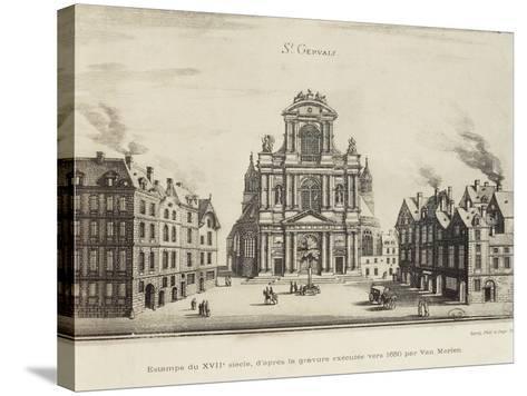 France, Paris, Church of Saint-Gervais, Facade--Stretched Canvas Print