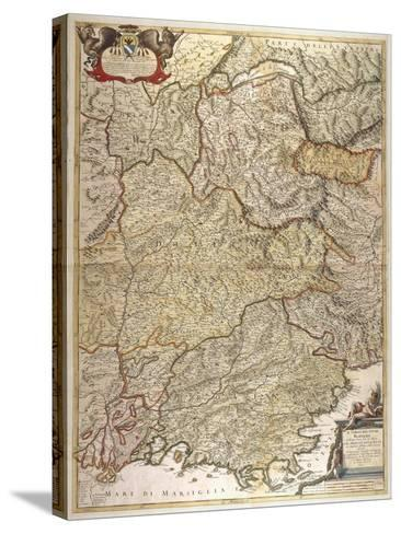 The Course of Rhone River from the Spring to the Sea--Stretched Canvas Print