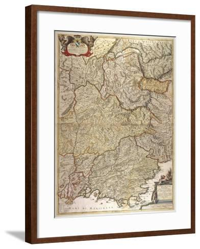 The Course of Rhone River from the Spring to the Sea--Framed Art Print