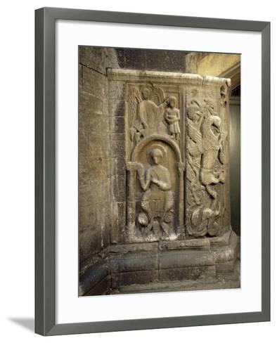 Bas-Relief of Dragon Door Dating Back to 13th Century, Church of San Fedele, Como, Italy--Framed Art Print