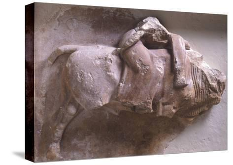 Europe on Back of Bull, High Relief from Metope of Treasury of Sicyon in Delphi, Greece--Stretched Canvas Print