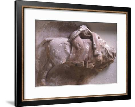 Europe on Back of Bull, High Relief from Metope of Treasury of Sicyon in Delphi, Greece--Framed Art Print