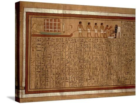 Papyrus of the 'Book of the Dead' Hieroglyphs and Polychrome Illustrations--Stretched Canvas Print