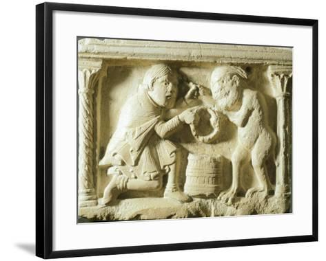 The Legend of the Covenant Between the Knight the Devil, Detail from a Font--Framed Art Print