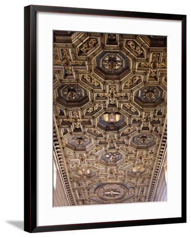 Glimpse of the Coffered Ceiling with Geometric and Floral Elements and Figures of Saints--Framed Art Print