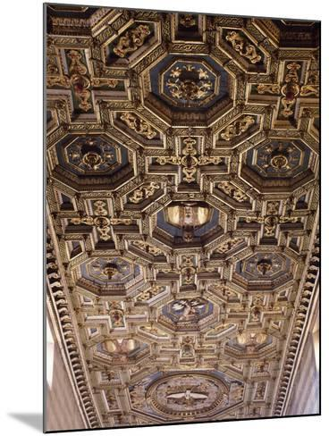 Glimpse of the Coffered Ceiling with Geometric and Floral Elements and Figures of Saints--Mounted Giclee Print