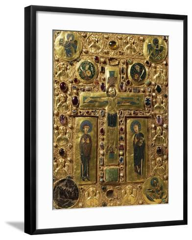 Gold, Enamel and Precious Stones Book Binding Depicting Crucifixion, around 1200--Framed Art Print