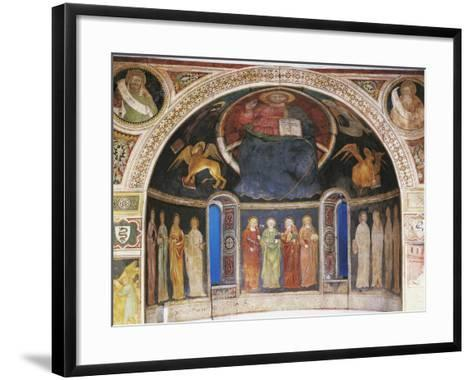 Christ in Majesty Between Symbols of Evangelists and Twelve Apostleses in Niche of Apse--Framed Art Print