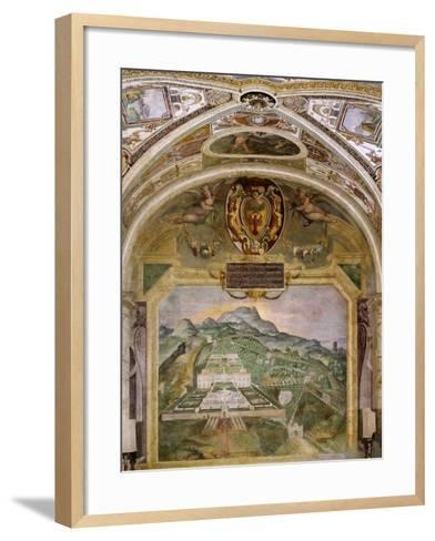 Fresco Depicting Villa Lante, Lodge of Palazzina Gambara, Villa Lante, Bagnaia, Italy, 16th Century--Framed Art Print