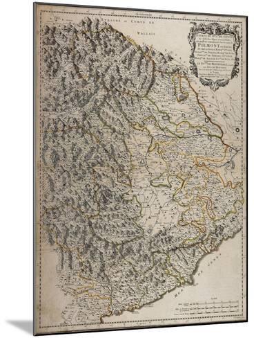 Northern Alpine Regions, Padan Plain and Western Liguria Region, Map--Mounted Giclee Print