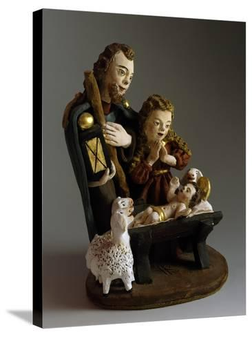 Nativity, Nativity Scene with Painted Wood Figurines, Austria--Stretched Canvas Print