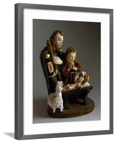 Nativity, Nativity Scene with Painted Wood Figurines, Austria--Framed Art Print