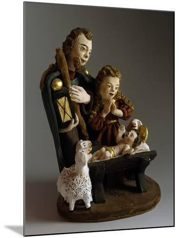 Nativity, Nativity Scene with Painted Wood Figurines, Austria--Mounted Giclee Print