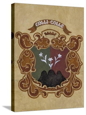 Heraldic Coat of Arms on Facade of Old Town Hall, Cortina D'Ampezzo, Veneto, Italy--Stretched Canvas Print