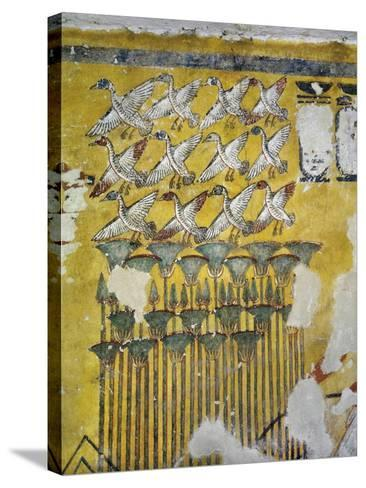 Egypt, Tomb of Ay, Burial Chamber, Eastern Wall, Mural Paintings, Hunting Scene--Stretched Canvas Print