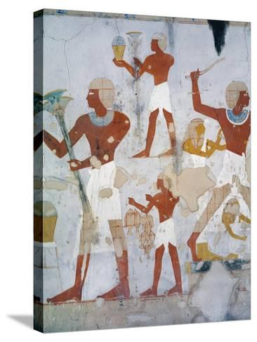 Egypt, Tomb of Royal Cupbearer Suemnut, Mural Paintings, Hunting Scenes and Votive Offerings--Stretched Canvas Print