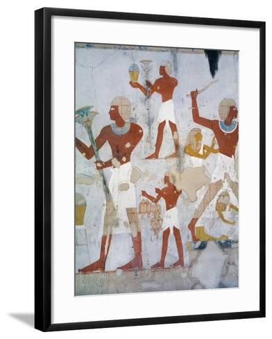 Egypt, Tomb of Royal Cupbearer Suemnut, Mural Paintings, Hunting Scenes and Votive Offerings--Framed Art Print