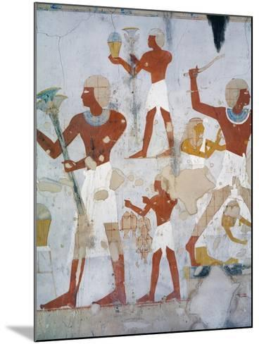 Egypt, Tomb of Royal Cupbearer Suemnut, Mural Paintings, Hunting Scenes and Votive Offerings--Mounted Giclee Print